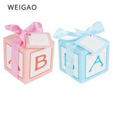 WEIGAO 10pcs Cute Candy Box Baby Blue Pink Paper Gift Boxes 1st Birthday Party Decorations Kids Baby Shower Boy Girl Gifts Box(China)