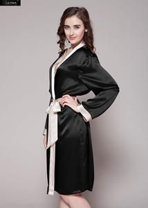 Image 2 - Lilysilk 로브 기모노 나이트웨어 드레싱 가운 여성용 실크 100 여성 22 momme contrast 무료 배송 할인 판매