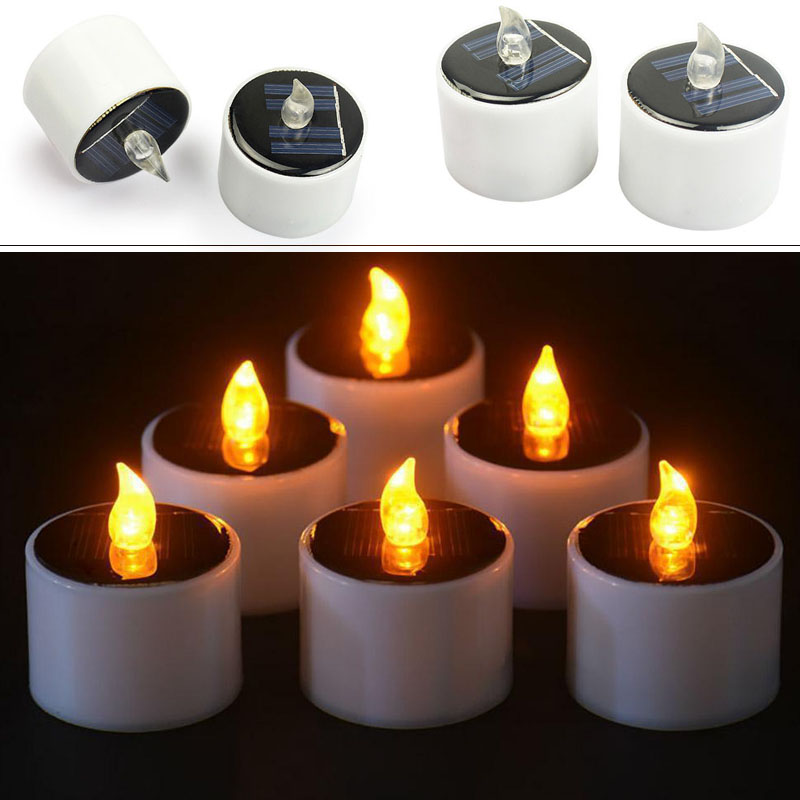 HouseholdCandles Lamp Solar LED Romantic Wedding Candles Light Votive LED Tealight Flickering Christmas Decor Solar Candle Light