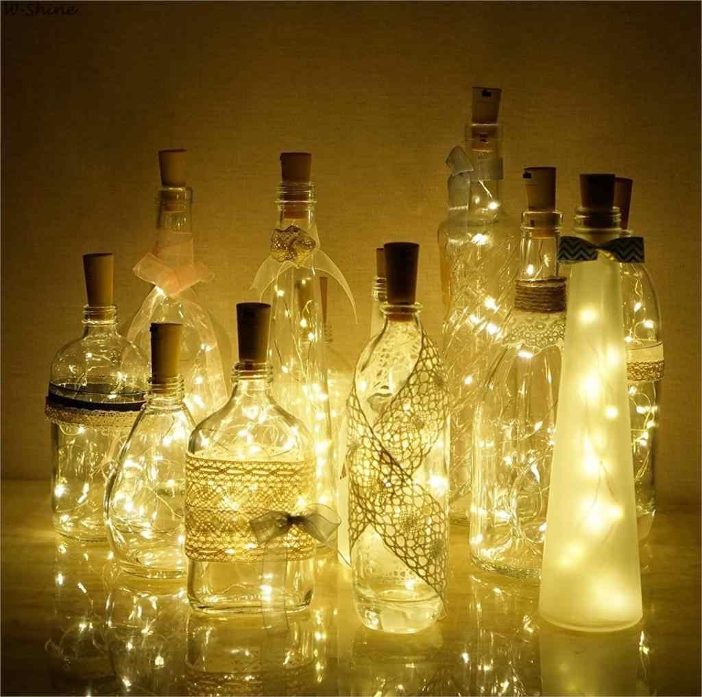 ขวดไวน์ Cork ไฟทองแดงสายไฟ String 2 M ลวดทองแดง 20 LED หลอดไฟขวดคริสต์มาสงานแต่งงานตกแต่ง