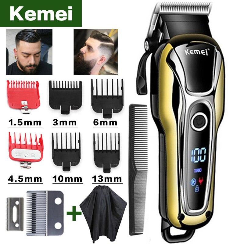 Kemei-cortadora de pelo profesional para hombre máquina para cortar el pelo con pantalla LCD, recortadoras eléctricas, 5 unidades