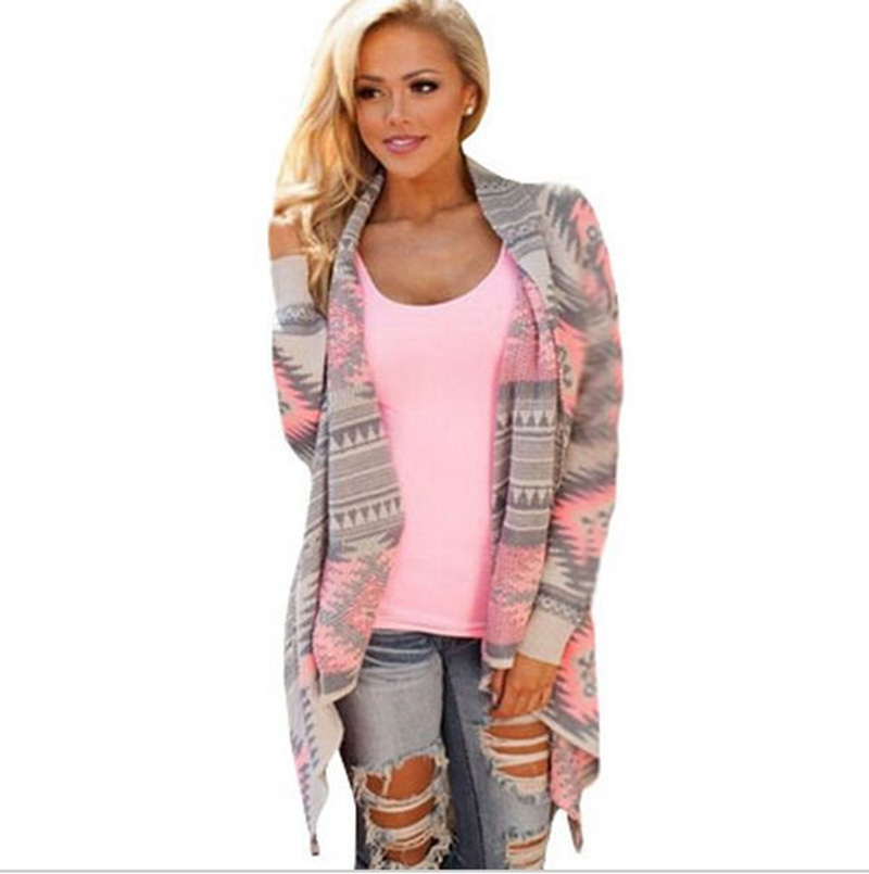 Women New Fashion Long Sleeved Casual All-match Cardigans Irregular Printed Knitted Pink Green Blue Loose Large Size Sweater