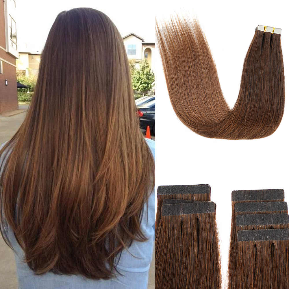 Tape in Extensions Human Hair Machine Made Remy Skin Weft Natural Hair Extensions
