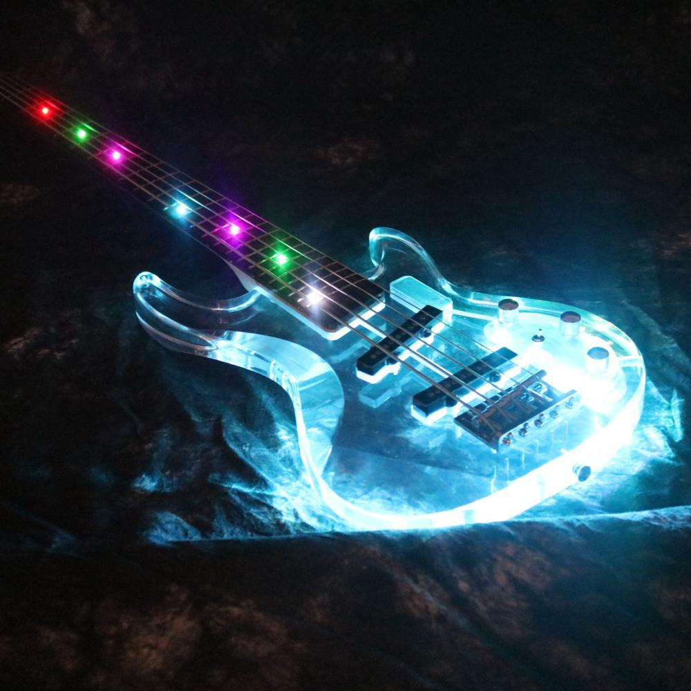 2019 Populer 5 Strings Colorful LED Light Electric Bass Guitar Z-WW7 Acrylic Body Crystal Bass Guitar Flash