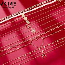 VKME, collar vintage de oro, collar de mariposa para mujer, collar de cadena, collar de perlas, corazón, Luna, colgante, 2020, nuevo regalo de fiesta