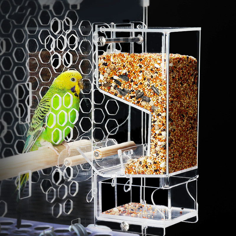 Anti-spatter Container Bird Feeder Pet Bird Cage Feeder Food Container Transparent Parrot Feeding Box Birds Supplies WY70702