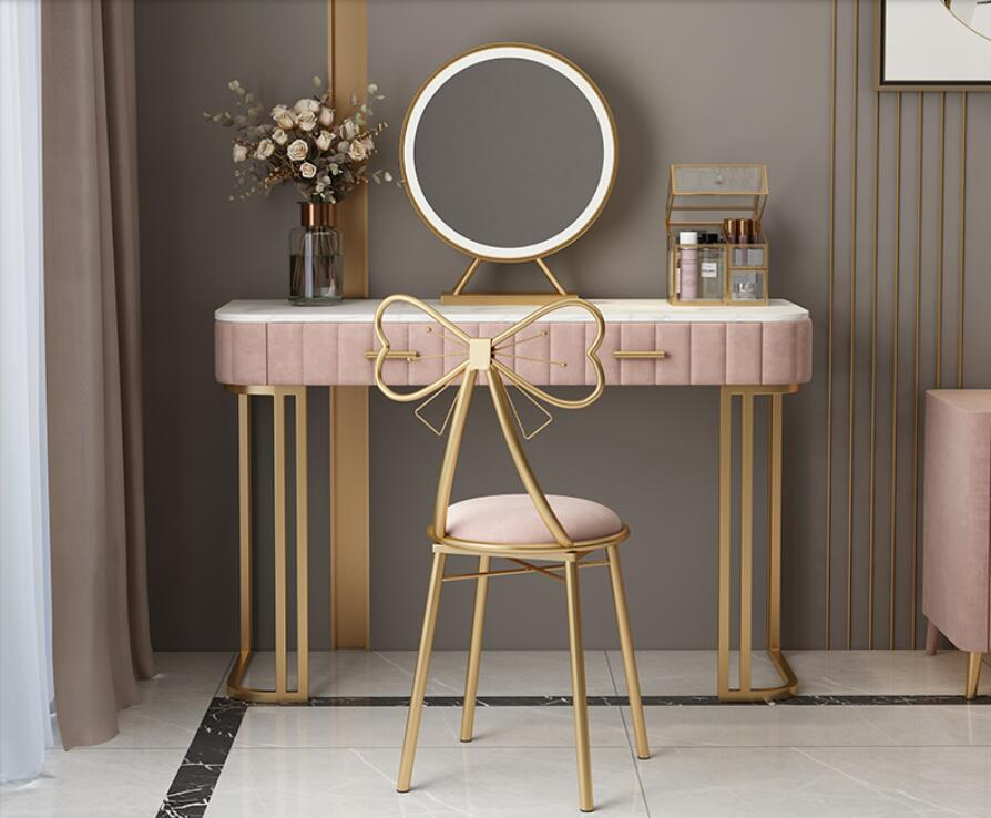 Nordic modern minimalist bedroom princess dressing table small net red ins wind light luxury marble bay window table