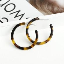 Bohemia  Leopard Tortoiseshell Acetate Circle Hoop Earrings for Women  Fashion CC Korean Acrylic Earring za jewelry Female 2020