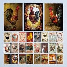 Carteles de estaño de pollo póster clásico de Metal Vintage granja decoración de pared Gallo placa metálica Retro