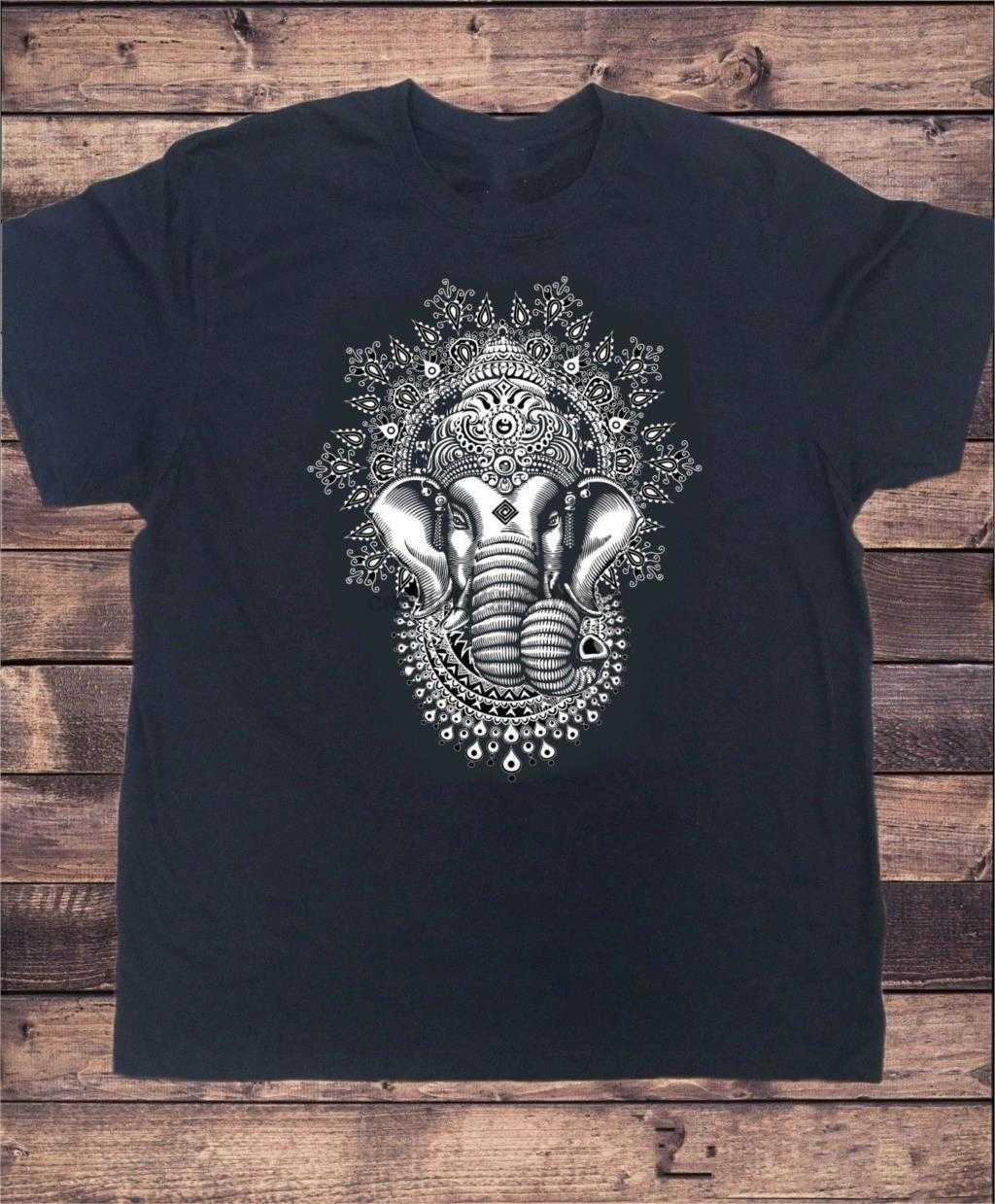 Herren Schwarz T-shirt Ganesh Elefant Gott Linie Kunst Meditation Indien Zen Hobo Yoga Männer Mode Baumwolle Tops Kleidung Schwarz