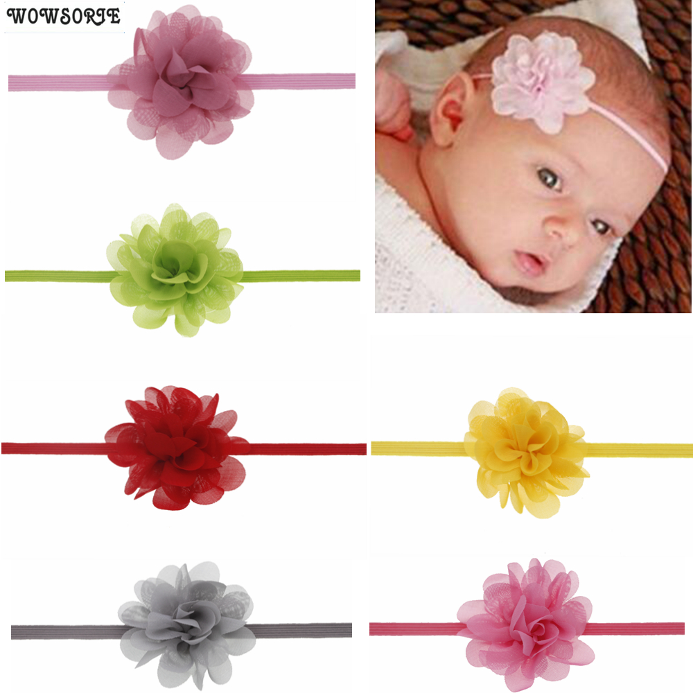 Baby Headband Mini Chiffon Fabric Diy Flowers Headband For Girl  Hair Band  Headwear Photography Props Newborn Hair Accessories