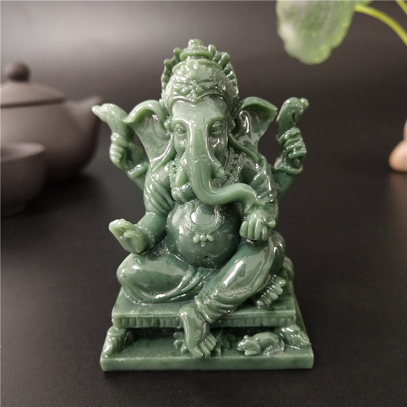 Lord Ganesha Buddha Statue Home Decoration Man-made Jade Stone Ganesh Elephant God Sculpture Figurines Ornaments Buddha Statues