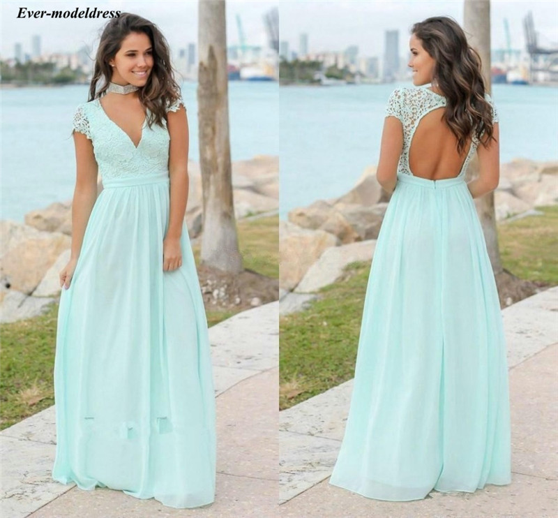 Mint Green Bridesmaid Dresses Long V-Neck Backless Short Sleeves Chiffon Lace Maid Of Honor Sexy Party Gowns Vestidos De Fiesta