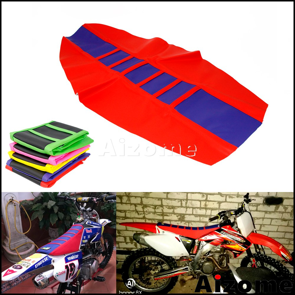 Motocross Ribbed Rubber Gripper Soft Seat Cover For Honda Yamaha KTM SXF EXC XCF YZF WR KXF RMZ CRF XR 125 150 250 350 450 500