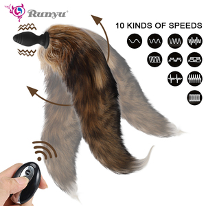 Fox Tail Anal Plug Wireless Remote anal sex Toys Silicone Furry Butt Plug Flirt Anus Plug For Women Adult sex toys For Couples