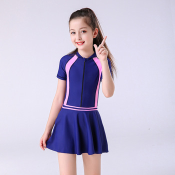 2020 Child Swimwear Girls Swimwear Boxers One Piece Swimming Suit Skirt Diving Suit Children Bathing Suit Zipper Tight Swimsuit - Blue, 5XL