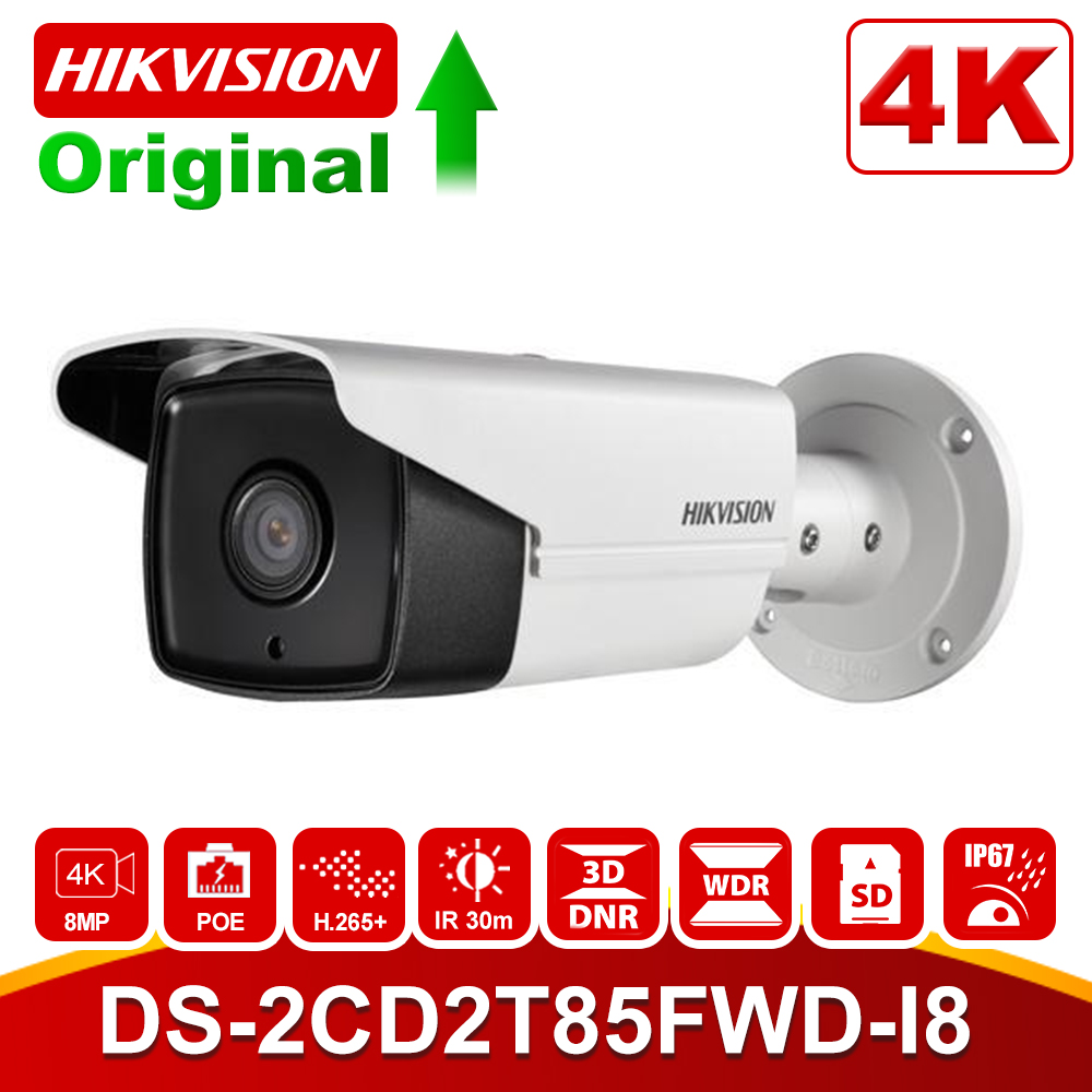 HIKvision 8MP IP Camera 4K Outdoor DS-2CD2T85FWD-I8 8Megapixel Network Security Bullet IP Cameras PoE Built-in SD Card Slot