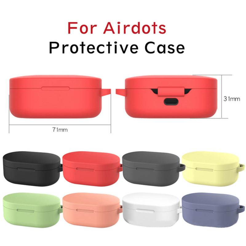 Silicone Case Protective Cover For Xiaomi Redmi Airdots TWS Bluetooth Earphone Youth Version Headset Protective Box With Hook