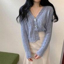 Cardigan Coat Korean Women Knitted Sweater Versatile V-Neck Fashion Chic Autumn Short