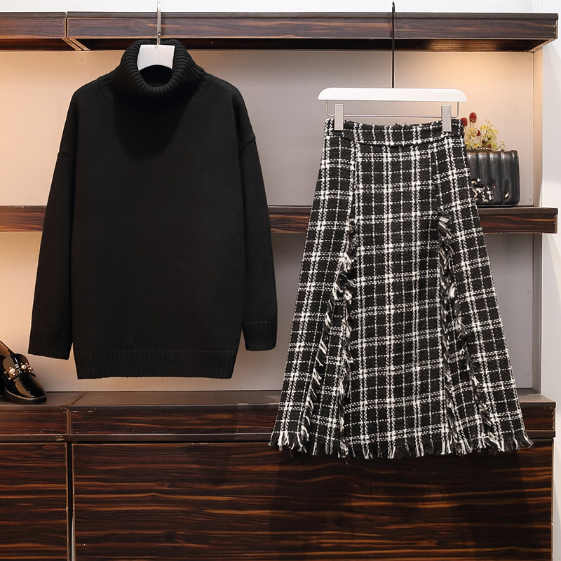 Plus Size Women Pullovers 2 Piece Set Fall Winter Black Thicken Turtleneck Knitted Sweater + Long Tweed Plack A Line Skirt Set