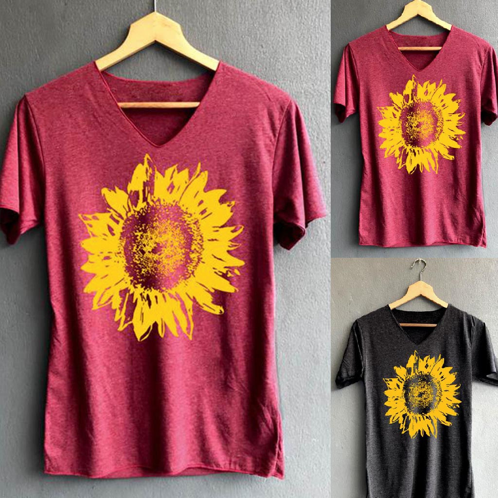 Women Sunflower Print T Shirt Casual V-neck Loose Tank Top Soft Comfortable Top Korean Style Camisetas Verano Mujer 2020