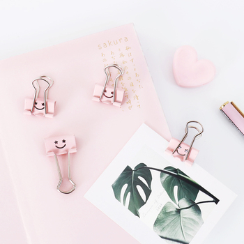 Smile face Clip Color Ticket Clip Binding Stationery Cute Office Accessories Binder Clips Office Supplies Metal Clip Paper Clips hypersonic black helmet design spring type car ticket clip for office hotel