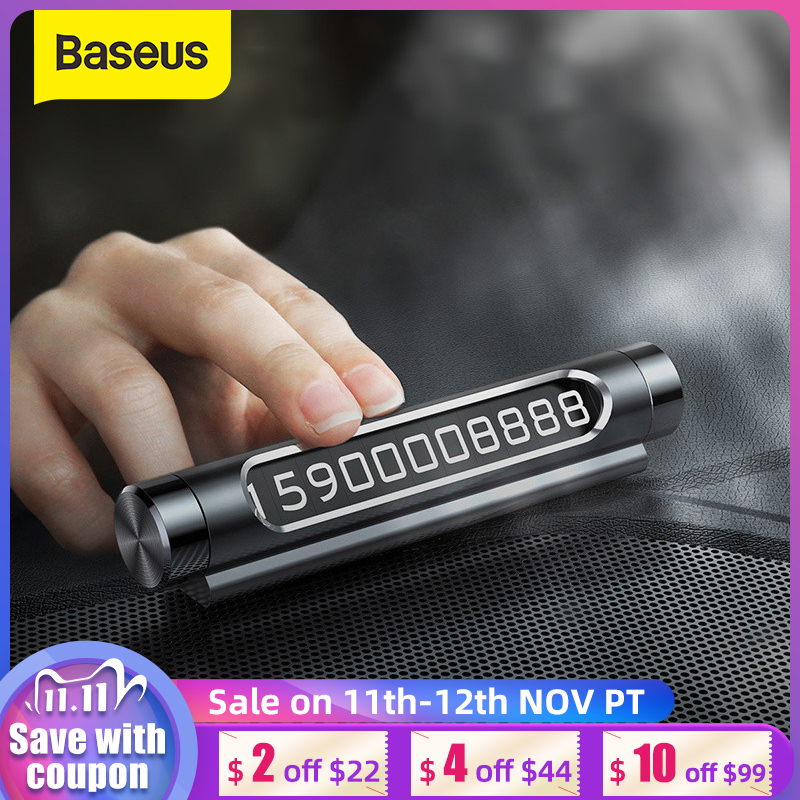 Baseus Car Temporary Parking Card Luminous Phone Number Plate Auto Stickers Drawer Style Car-Styling Rocker Switch
