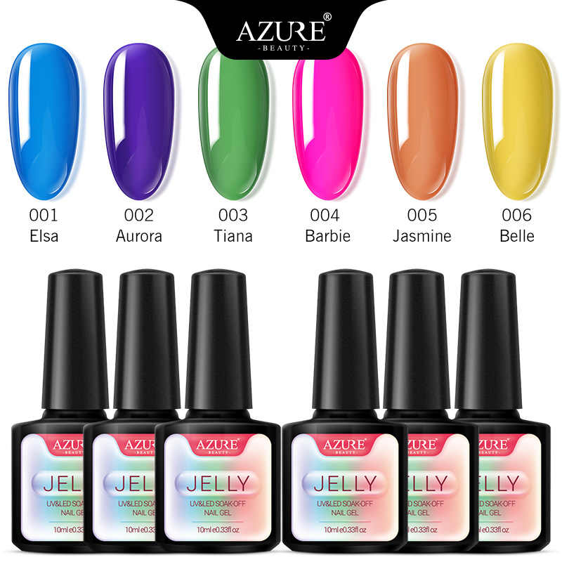 Azure Kecantikan 6 Pcs/lot Transparan Jelly Uv Gel Nail Polish Semi Permanen Hybrid LED Gel Varnish Kaca Permen LED Kuku enamel Kit