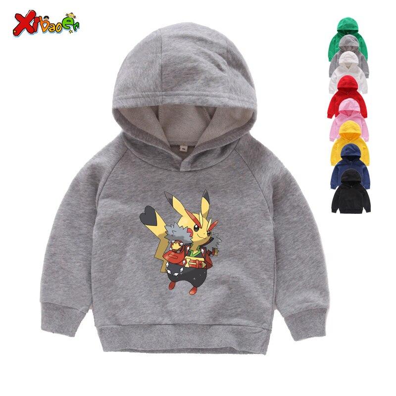 Boys Girls Pokémon Pikachu Kids Cartoon Printing Sweatshirt Hoodie Pullover