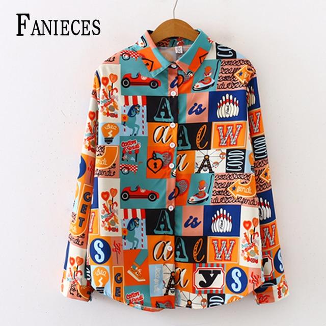 26 colors Fashion vintage Print Women Blouses Long Sleeve Turn-down Chiffon Blouse Shirt Casual Tops blusas Elegant Work Shirt