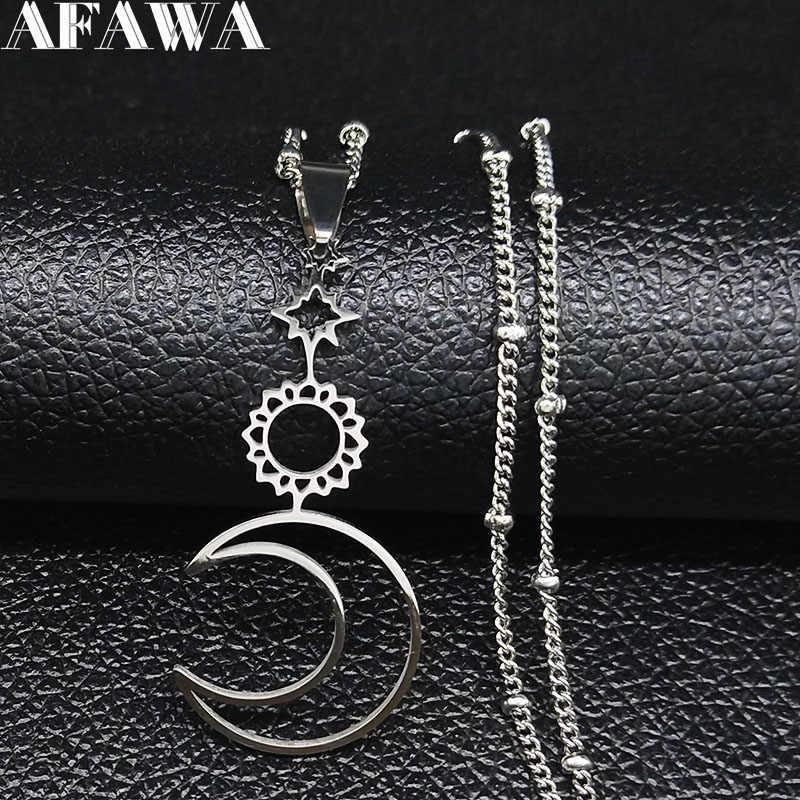 Sun Moon Star Stainless Steel Kalung Liontin untuk Wanita Warna Perak Kalung Wanita Perhiasan Kerah Hombre N1123S02