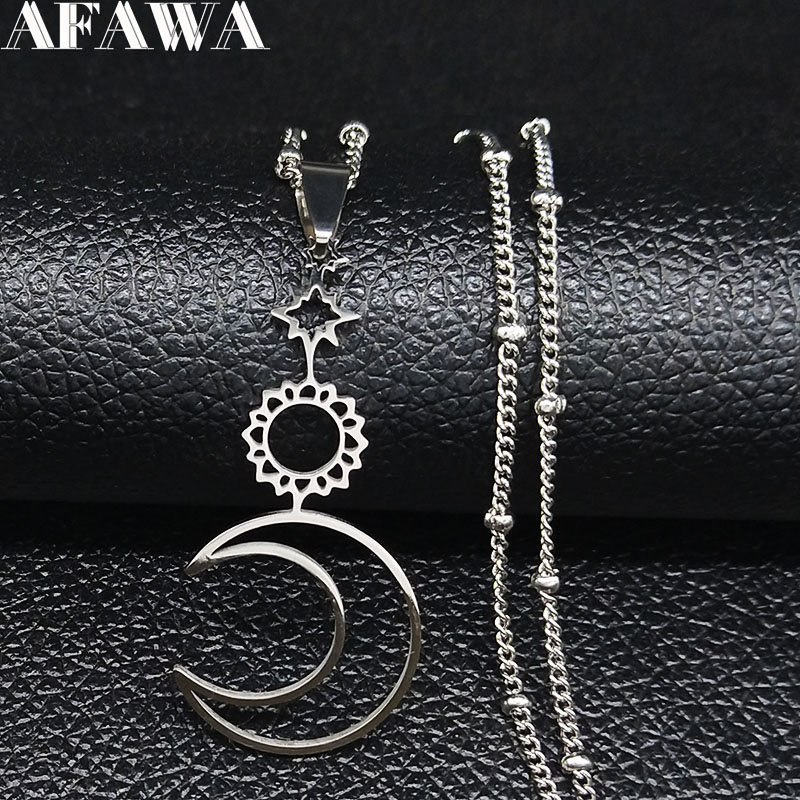 Sun Moon Star StainlessSteel Necklaces Pendants for Women Silver Color Statement Necklace Women Jewelry collar hombre N1123S02