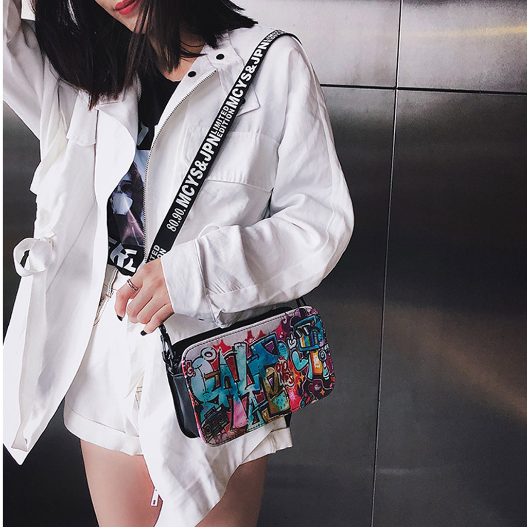 Crossbody-Bags Graffiti Personality Women Strap Messenger-Bag Fashion Ladies Zipper