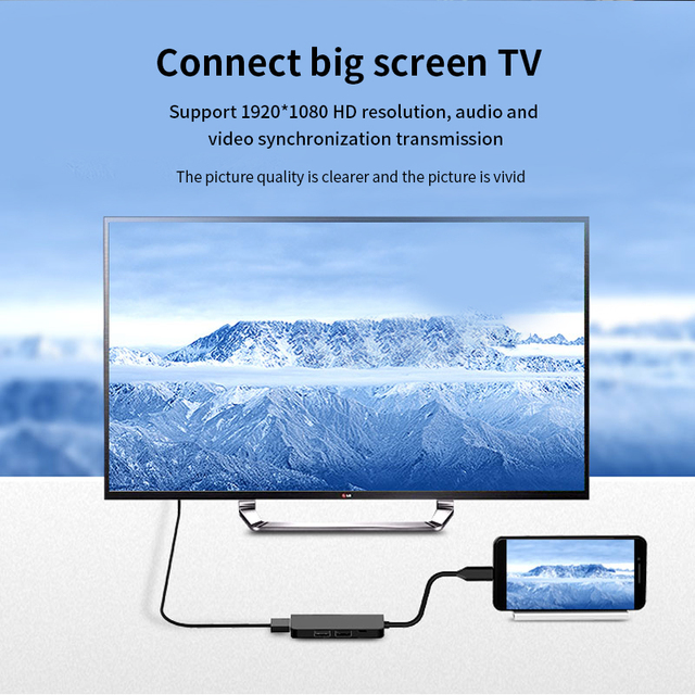 USB3.0 HUB Docking dock Type C to HDMI Adapter For smart phone Computer HDTV Laptop U disk hard disk USB-C PD fast charging 4
