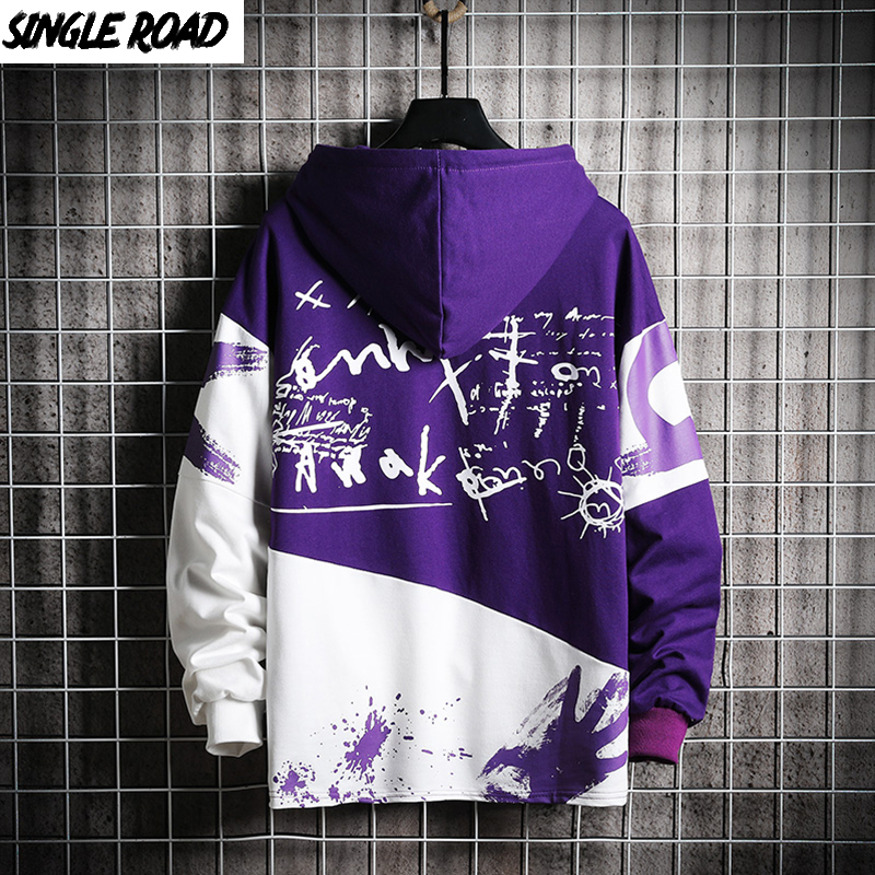 SingleRoad Men's Hoodies Oversized Patchwork Print Harajuku Japanese Streetwear Hip Hop Sweatshirts Purple Hoodie Men Clothing