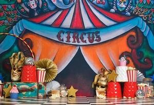 Image 4 - Mehofond sirk arka planında vinil kırmızı çadır Bunting çocuk doğum günü partisi fotoğrafçılık arka plan fotoğraf stüdyosu için özelleştirilmiş