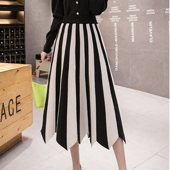 New Autumn Winter Long Knit Women's Skirts 2020 Fashion Elastic High Waist Striped Patchwork Pleated Skirt Beige Faldas Mujer diamond striped pleated skirt fashion elastic waist a line elegant long skirt for women autumn winter streetwear patchwork skirt