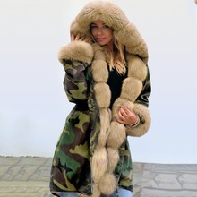 2019 Winter Women Long Warm Thick Parka Coat Fashion Ladies Slim Faux Fur Jacket Camouflage Hooded Coat