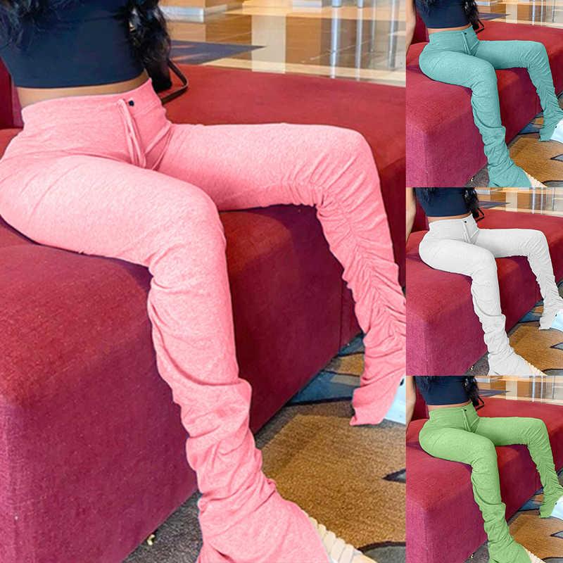 מכנסי טרנינג נשים התלקחות מכנסיים גבירותיי מוערם רצים קפלים גבוהה מותן מכנסיים פיצול פעמון תחתון מכנסיים נקבה 7 צבע 2020