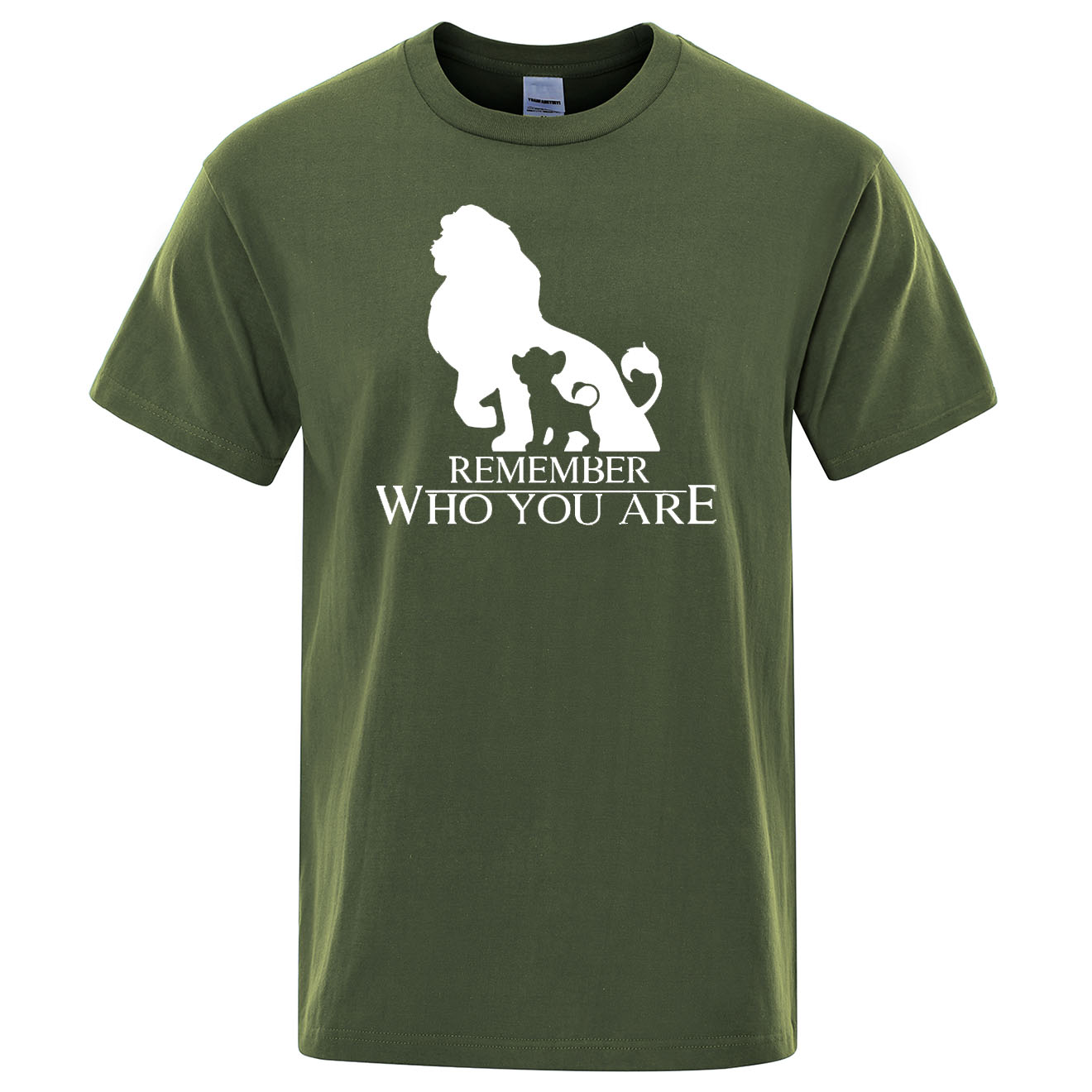 The Lion King Cartoon T Shirt Homme Streetwear Men's T-shirt  Remember Who You Are Letter Print Summer Short Sleeve Men T Shirts