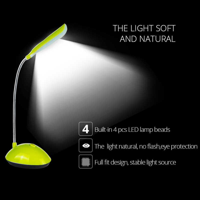 Светодиодный ночник EeeToo для детей, гибкая Регулируемая портативная настольная лампа для чтения, 4 вида цветов с аккумулятором AAA