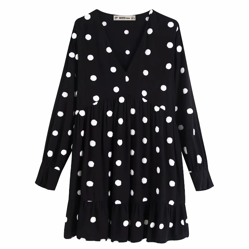 Women Sweet Dot Embroidery Black Vestidos Hem Pleats Ruffles Mini Dress Ladies Autumn V Neck Fur Ball Stitching Dresses DS2881