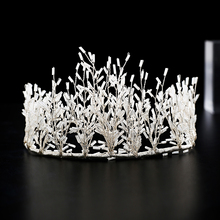 TRiXY H193 Fashion Small White Tube Wedding Tiara and Crown Silver Wedding Headband for Bride Bridal Hair Accessories Crystal