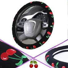 Automotive Cherry Women Embroidery Cute Car Steering Wheel Cover