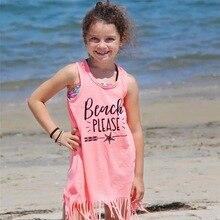 Children print pink dress long T-shirt  fringe long dress fringe cami dress