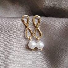 S925 иглы Модные жемчужные Висячие серьги золотые милые ювелирные