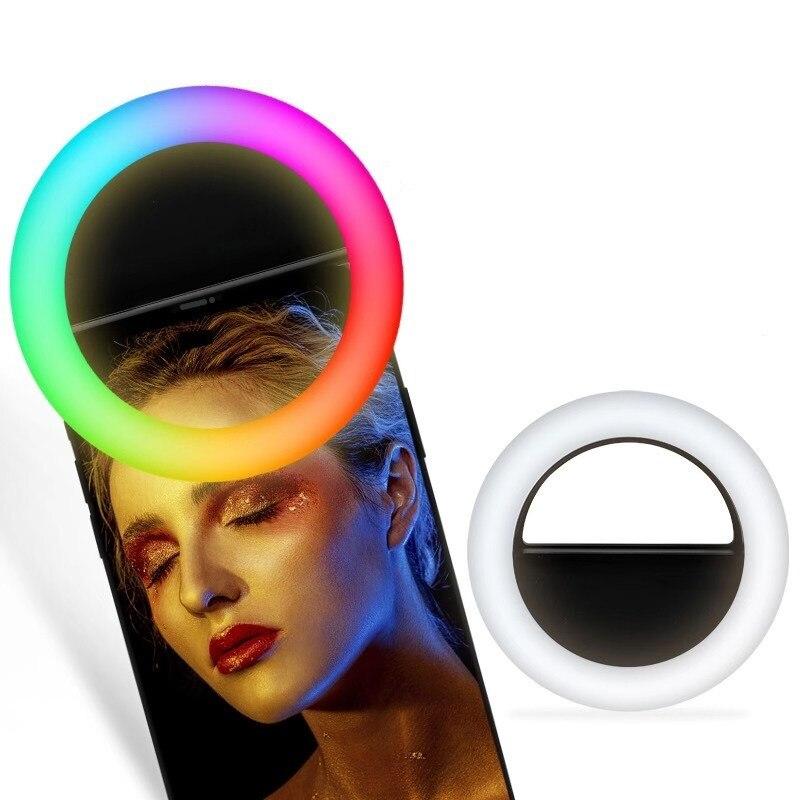 Universal Selfie Ring Light RGB Colorful Lamp Mobile Phone Lens Portable Flash Ring Color LED Light Ring For Cellphone Live
