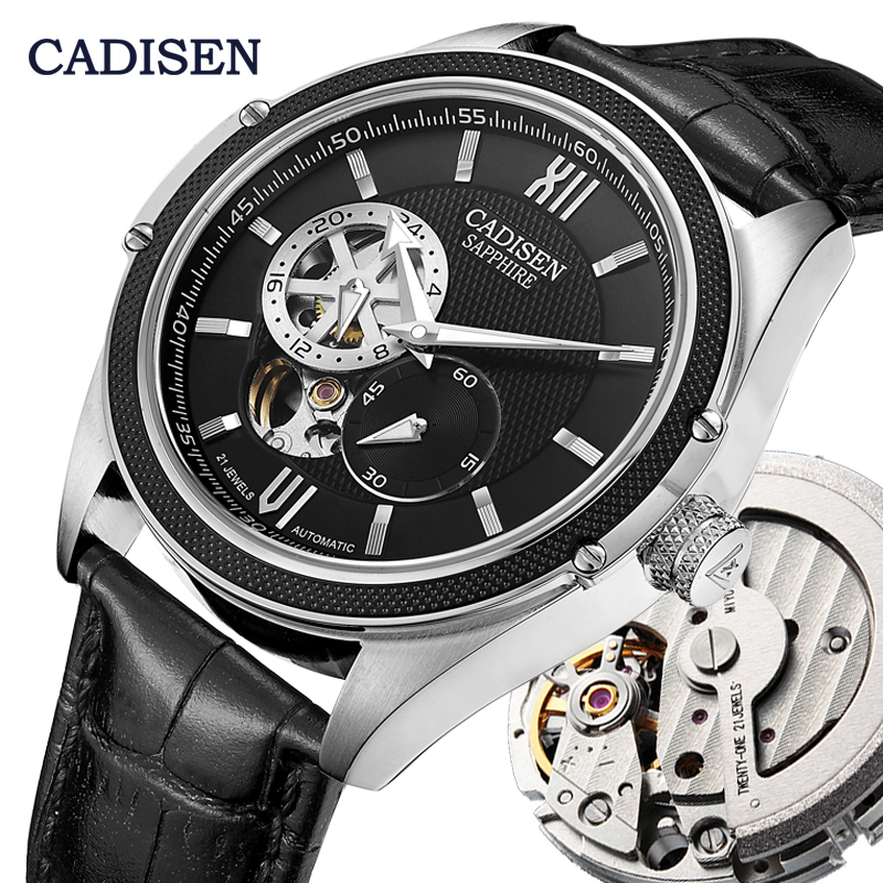 CADISEN Mechanical Automatic Watch Men Wrist Watches MIYOTA 82S7 Brand Luxury Skeleton Tourbillon Watch Clock Relogio Masculino