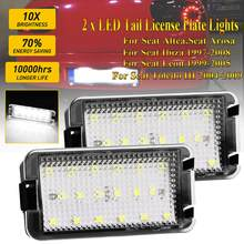 2 uds. Luces LED de matrícula 18-SMD para Seat Altea Arosa Car-Styling lámpara de placa de matrícula libre de errores para Seat Cordoba 1993-2008(China)