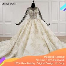 HTL1096 di lusso bead abito da sposa illusione manica lunga o collo del merletto abito da sposa con velo da sposa più il formato weddind vestito